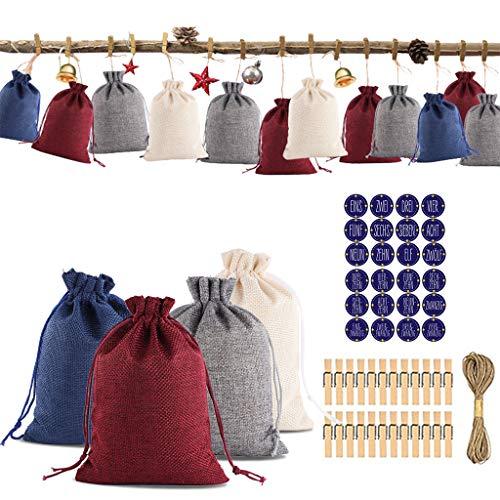Ansenesna Adventskalender Tüten Zum Befüllen Jute Säck Weihnachten Deko Kalender Stoffbeutel Geschenktüten (A)