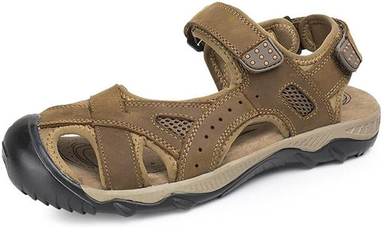 MuMa Summer Sandals, Men's Leather Casual Non-Slip Sandals (color   Light Brown, Size   EU41 UK7.5-8 CN42)