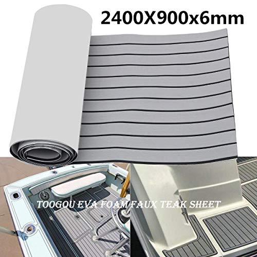 Toogou Eva Espuma Barco DIY Piso Decking Pad (94,5'× 35.4'), Estera de Madera de Teca Marino sintético para embarcaciones, Grey with Black Stripes