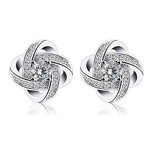 Beforya Paris - Pendientes de plata 925 con cristales y circonitas de Swarovski Elements, bonitos pendientes con caja de regalo