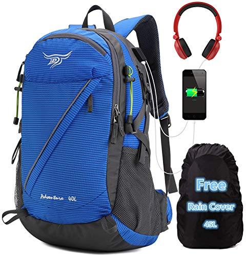 40l Wanderrucksack – Wasserabweisender Outdoor-Rucksack für Bergsteigen und Trekking mit Regenschutz, Camping, Reiserucksack mit USB-Anschluss für Damen und Herren – Blau