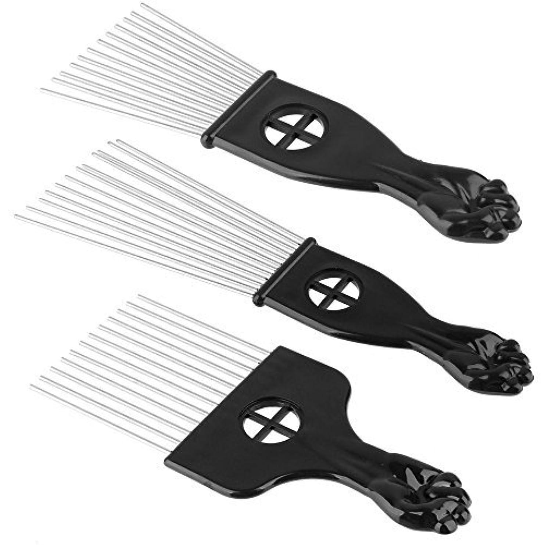 蒸留する議会見込みBeauty7 3PCS Metal Hair Styling Pik Afro Pick Comb For Volume & Tangles Black Fan Fist Hand Model [並行輸入品]