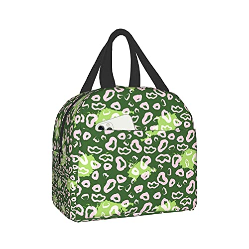 Leopard green spots Lunch Box Bento Bag, Insulated Lunch Boxes Waterproof Lunch Bag, Reusable Lunch Tote With Front Pocket For Office Picnic Hiking Beach