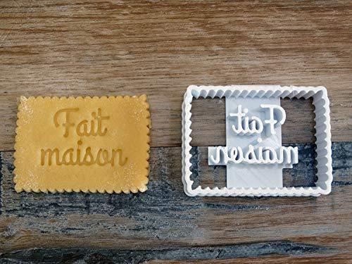 Emporte-pièce Forme biscuit petit beurre avec message FAIT MAISON Patisserie, sablé, biscuit, pâte à sucre, pâte à modeler-Décoration gâteau-Fait maison-FR ELACE 3D
