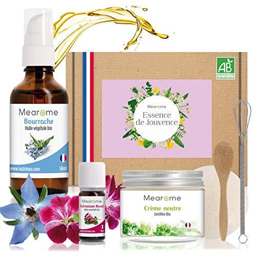 Coffret soin visage femme - Soin maison bio - kit soin visage - crème anti-rides, lifting naturel - soin hydratant visage soin peau sèche peau abîmée - huile essentielle, huile végétale, crème neutre