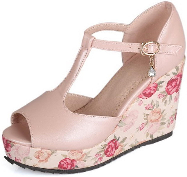 AmoonyFashion Women's Solid PU High-Heels Peep-Toe Buckle Sandals