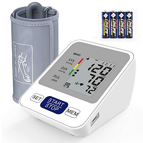 Blutdruckmessgerät Oberarm, Annsky Blutdruckmonitor Heimgebrauch mit 22-32cm verstellbare Manschette, Elektronik Blutdruck Messgerät und Herzfrequenz Puls, 2 Benutzer-Modus mit 2 * 99 Speichern