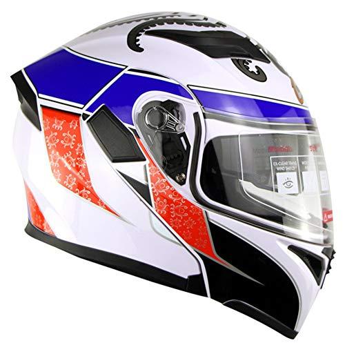 CHB Moto Racing Casque Double lentille Ouverte Casque Visage équitation Hiver Hommes et Femmes Chaud Voiture électrique Casque de sécurité,1004,L