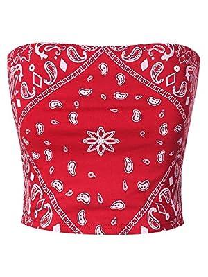 MixMatchy Women's Causal Strapless Double Layered Basic Sexy Tube Top Red Bandana Print M