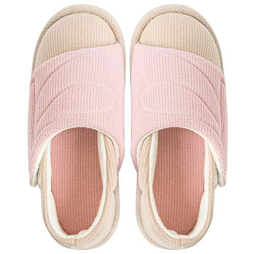 Diabetische pantoffels voor heren met traagschuim,Plateauzool met postpartum-pantoffels, verstelbare antislip-opsluitschoenen-38_Pink,Pantoffels voor gezwollen voetenoedeem
