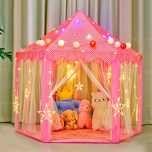 CXTSMSKT Kids Play Tent Princess Castle with 3 Kinds of Lights for Girls Indoor and Outdoor Playhouse Toy