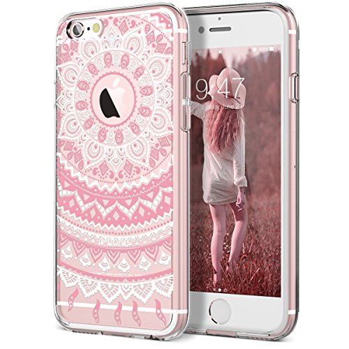 SmartLegend Case for iPhone 6S & iPhone 6, Girls Women Slim Anti-Slip Clear Soft TPU Bumper + Hard PC Back Shockproof Full-Body Protective Phone Cover for iPhone 6/6s- Pink Mandala