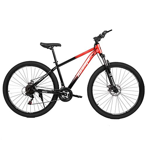 hosote 29 inch Mountain Bike, 21 Speeds Suspension Fork Mountain Road Bicycle, Dual Disc Brakes Carbon Steel Frame Bikes for Adults, Blue, Red, Gold