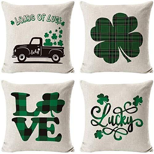 Conjunto de giyiohok de 4 Cubiertas de Cojines Decorativos para sofá Cama - 45 x 45 cm - Patrón de Hojas Tropicales - algodón y Lin-St Patrick Day 1