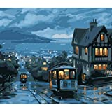 Europa La Noche De Campo En Movimiento Tren Pintura Al Óleo Diy Pintura Digital Por Números Cuadro De La Pared Decoración Para El Hogar Enmarcado 16X20 Pulgadas
