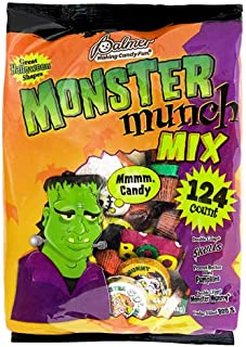 Palmer (1) Bag Monster Munch Mix - 124 Candy Pieces in Assorted Halloween Shapes - Includes: Double Crisp, Peanut Butter Filled, Fudge Filled - Net Wt. 44 oz