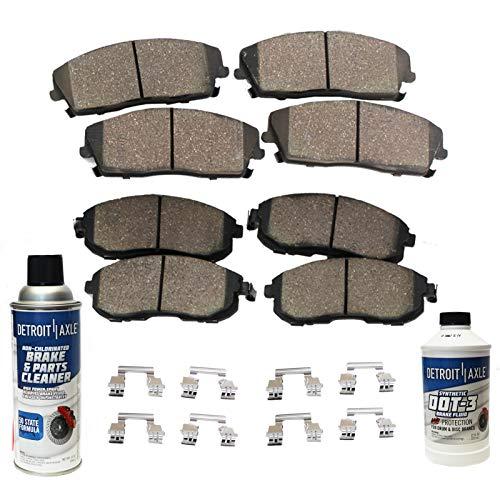 Detroit Axle - FRONT & REAR Ceramic Brake Pads w/Hardware, Brake Fluid & Cleaner for 2009-2014/2016-2017 Nissan Maxima - [2009-2013 Sentra SE-R Spec-V]