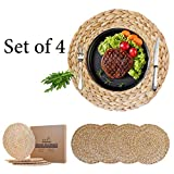 Water Hyacinth Woven Placemats for Dining Table, Natural Wicker Placemats for Hot Plates, Handmade Round...