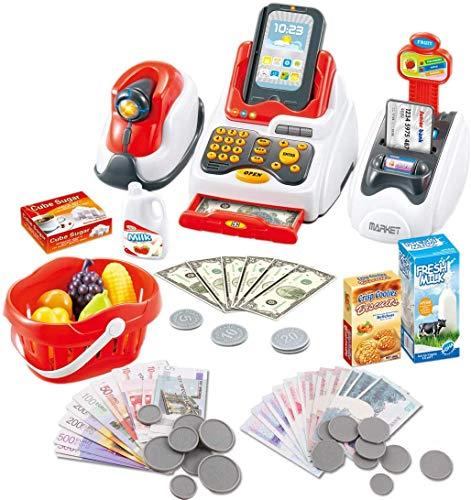 deAO Registratore di Cassa Giocattolo Scanner con Lettore Reale e Lettore di Carta Set di Accessori per Negozi e Supermercati per Bambini Include Alimenti Giocattolo