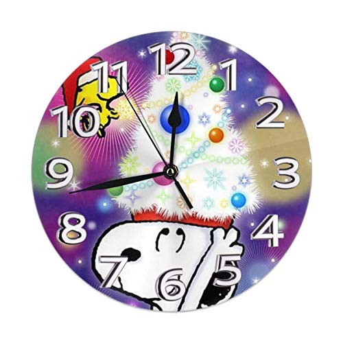 uxingdouriyongpin Wanduhr Lautlos, Nicht tickend - Frohe Weihnachten Snoopy Batteriebetriebene Runde Leicht zu lesen Home/Büro/Klassenzimmer/Schuluhr
