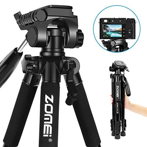Kamerastativ Zomei Z666 Tragbares Leichtgewichtstativ mit Schwenkkopf und Schnellwechselplatte für Digitale DSLR Canon EOS Nikon Sony Panasonic Samsung - Schwarz