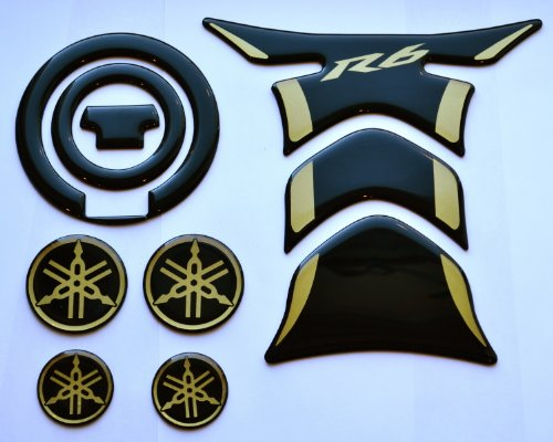 Fit Yamaha YZF R6 Piano Black Glossy+ Gold Tank Protector Pad & gas cap cover sticker + 4 logo trim