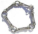 Bracciale a 2 barre, colore argento, 8,5 cm, chiusura magnetica fatta a mano in Cornovaglia