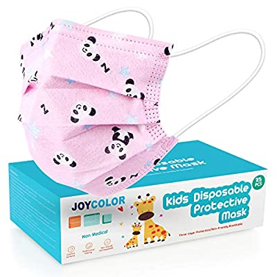 JOYCOLOR Cute kids face mask,Children's 3 Ply Protective Earloop Disposable Filter Masks with Dinosaur & Car Print Patern for Dust Air Pollution (25, Car) by JOYCOLOR