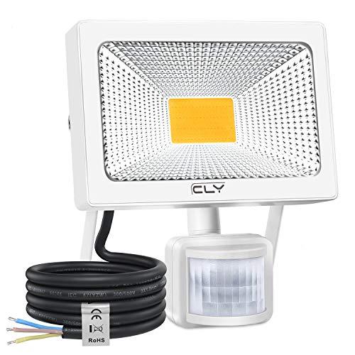 Projecteur LED Avec Détecteur de Mouvement 30W【Blanc Chaud】, CLY Spot LED Extérieur Detecteur De Mouvement, Projecteur LED Extérieur, Pour Jardin, Patio (30W Blanc Chaud)