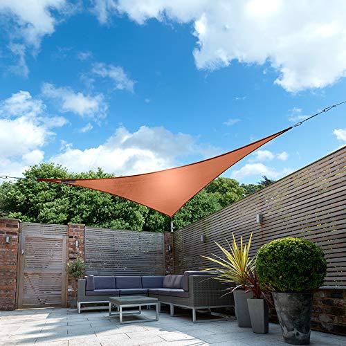 Kookaburra Wasserfest Sonnensegel Terrakotta Wasserabweisend Imprägniert Wetterschutz 98% UV Schutz für Garten Terrasse und Balkon (2,0m Dreieck)