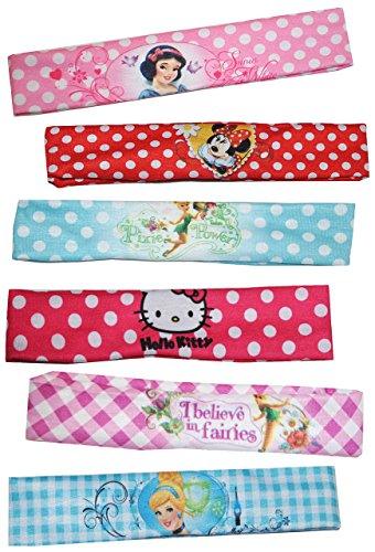 alles-meine.de GmbH 6 Stück: Haarband / Stirnband / Kopfband - für Mädchen / Kinder - Minnie Mouse - Hello Kitty - Princess Prinzessinnen - Fairy Tinkerbell - Schmuck Haarschmuck..