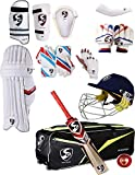 SG Best Sports Cricket-Helm, inkl. Wicket-Handschuhe, Innenhandschuhe, Oberschenkelschutz, Ellenbogenschutz, Bauchschutz und Schlaghandschuhe -