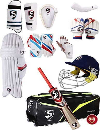 SG Best Sports 100% Original Brand Cricket Complete & Keeping Accessories Large Size Smart-Tech Helmet+Wicket Keeping Gloves+Inner Gloves+Inner Thigh Guard+Elbow Guard+Abdominal Guard+Batting Gloves