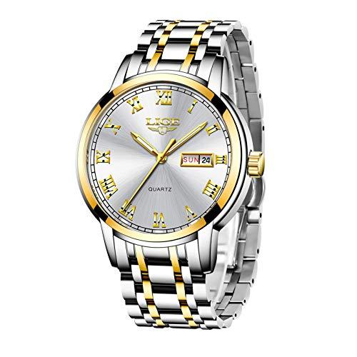 Herren Uhren Mode Einfache wasserdichte Quarz Sportuhr Edelstahl Armbanduhr Auto Tag Datum Kalender Geschäft Armbanduhr Männer