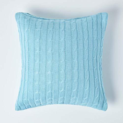 Homescapes Cojín Decorativo de 100% algodón con Tejido de Cable en Color Azul Pastel 45 x 45 cm