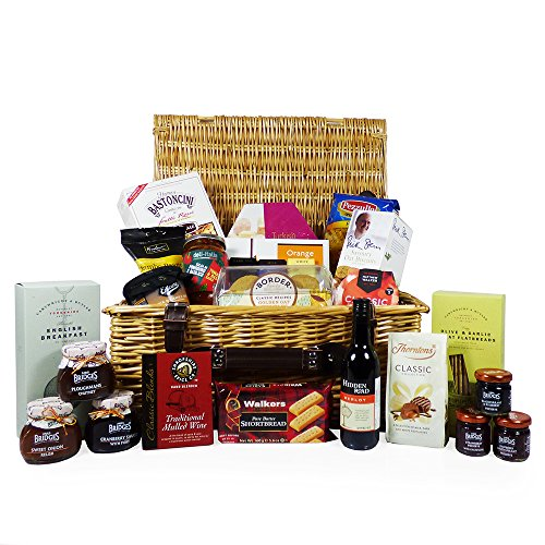 The Traditional Wicker Food and Wine Gift Hamper 25 Items - Gift Ideas for Valentines, Mother's Day, Birthday, Wedding, Anniversary, Business and Corporate, Christmas
