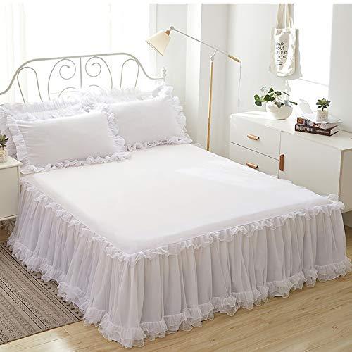 Bettvolant Bettrock Tagesdecke Ruffle Bettüberwurf Spitze Rüschen Bett Rock 3PCS Sets Bettwäsche Prinzessinnen-Stil,White-150X200CM