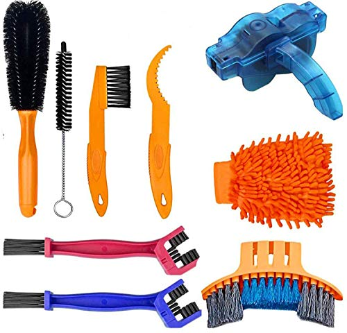 Bicycle Cleaning Tool Kit (9PCS), Practical Bicycle Chain Cleaner for Cleaning the Chain/ Crank/ Sprocket/ Tire Corner Rust Spots of City, Mountain, Road, HHybrid, BMX Crank, Sprocket Folding Bicycle