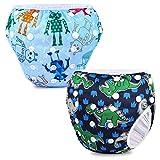 Phogary Schwimmwindeln (2er-Pack), wiederverwendbare Baby-Schwimmwindel für Babys von 0 bis 3 Jahren (Gewicht 3 bis 15 kg), perfekt für Duschen, Strand- und Schwimmstunden (Dinosaurier+Roboter)