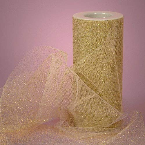 Tulle Ribbon Rolls - 25 Yards - 6 Inches Wide (Metallic Gold)