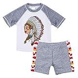 Kinder Badeanzug Matching Boy Surfing Kleidung Baby Swimwear Badehose Kurzarm-Shirt und Shorts Bademode