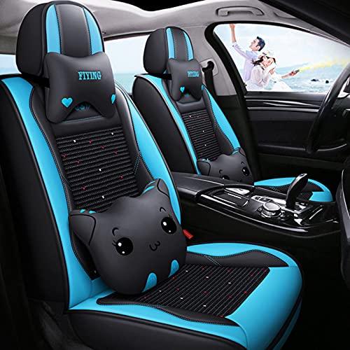 Juegos De Fundas Asientos Coche De Verano Universales Para BMW X1 X2 X3 X5 X7 Cubre Asiento De Coche De Cuero De Seda De Hielo Para Delanteros Y Traseros Protector De Asiento Coche,Azul