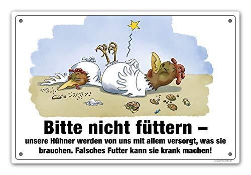 Comic-Schilder.de Hühner bitte nicht füttern · Aluschild