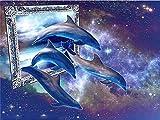 Pintura de diamante delfín bordado de diamantes redondos completos animales imágenes de diamantes de imitación mosaico punto de cruz decoración del hogar A4 50x60cm