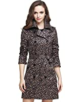 Camii Mia Women's Fashion Leopard Slim Double Breasted Trench Coat (X-Small, Leopard)