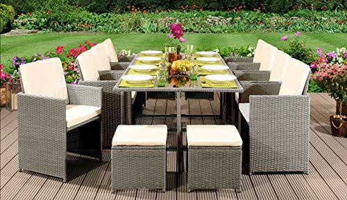 EIVD 13-teiliges Rattan-Möbel-Set für Terrasse, Rattan, Gartenmöbel-Set mit Stühlen, Sofa, Tisch, für den Außenbereich, Terrassenmöbel (Farbe: C)