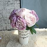 Fleurs Artificielles,Fausse Fleur,1 Bouquet 5 Têtes Romantique Artificielle Rose Fleur de Soie Feuille Maison Mariage Party Decor Fleur Artificielle de Haute qualité de Couleur Rétro européenne