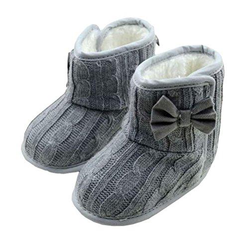 Gotd Baby Girls Snow Boots Bowknot Soft Sole Winter Warm Shoes Prewalker (0-6 Months, Gray)