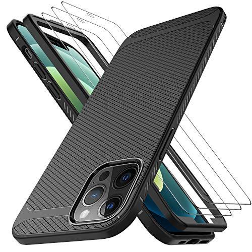 LUIBOR per Cover iPhone 12 Pro Max (6.7 inch)+ Vetro Temperato iPhone 12 Pro Max (3 Pezzi), Vetro temperato AntiGraffio HD AntiGraffio Nero Sottile Morbido Custodie Protettivo