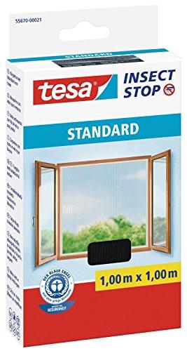 tesa vliegenhor voor ramen, standaardkwaliteit (1 m / 5-delige voordeelverpakking, antraciet)